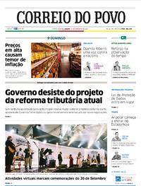 Capa do jornal Correio do Povo 19/09/2020