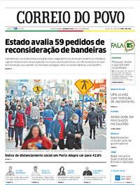 Capa do jornal Correio do Povo 20/07/2020