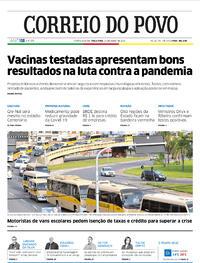 Capa do jornal Correio do Povo 21/07/2020