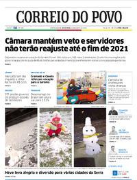 Capa do jornal Correio do Povo 21/08/2020