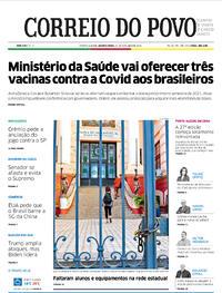 Capa do jornal Correio do Povo 21/10/2020