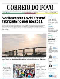 Capa do jornal Correio do Povo 22/07/2020