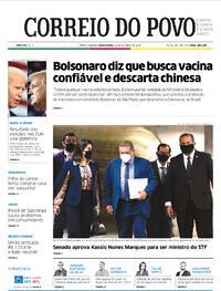 Capa do jornal Correio do Povo 22/10/2020
