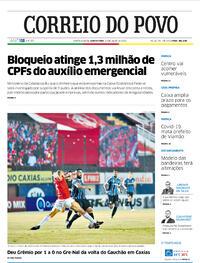 Capa do jornal Correio do Povo 23/07/2020