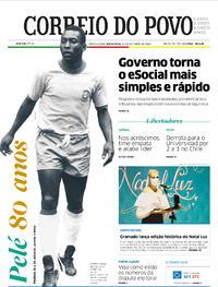 Capa do jornal Correio do Povo 23/10/2020