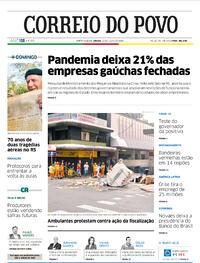 Capa do jornal Correio do Povo 25/07/2020
