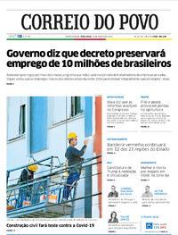 Capa do jornal Correio do Povo 25/08/2020