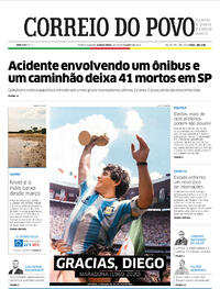 Capa do jornal Correio do Povo 26/11/2020