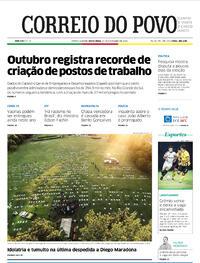 Capa do jornal Correio do Povo 27/11/2020