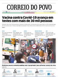 Capa do jornal Correio do Povo 28/07/2020
