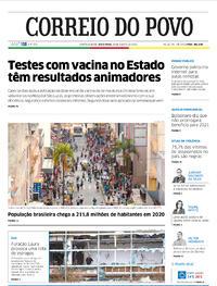 Capa do jornal Correio do Povo 28/08/2020