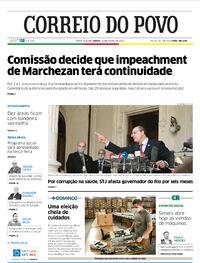 Capa do jornal Correio do Povo 29/08/2020