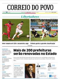 Capa do jornal Correio do Povo 30/09/2020