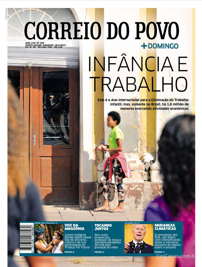 Capa do jornal Correio do Povo 18/04/2021