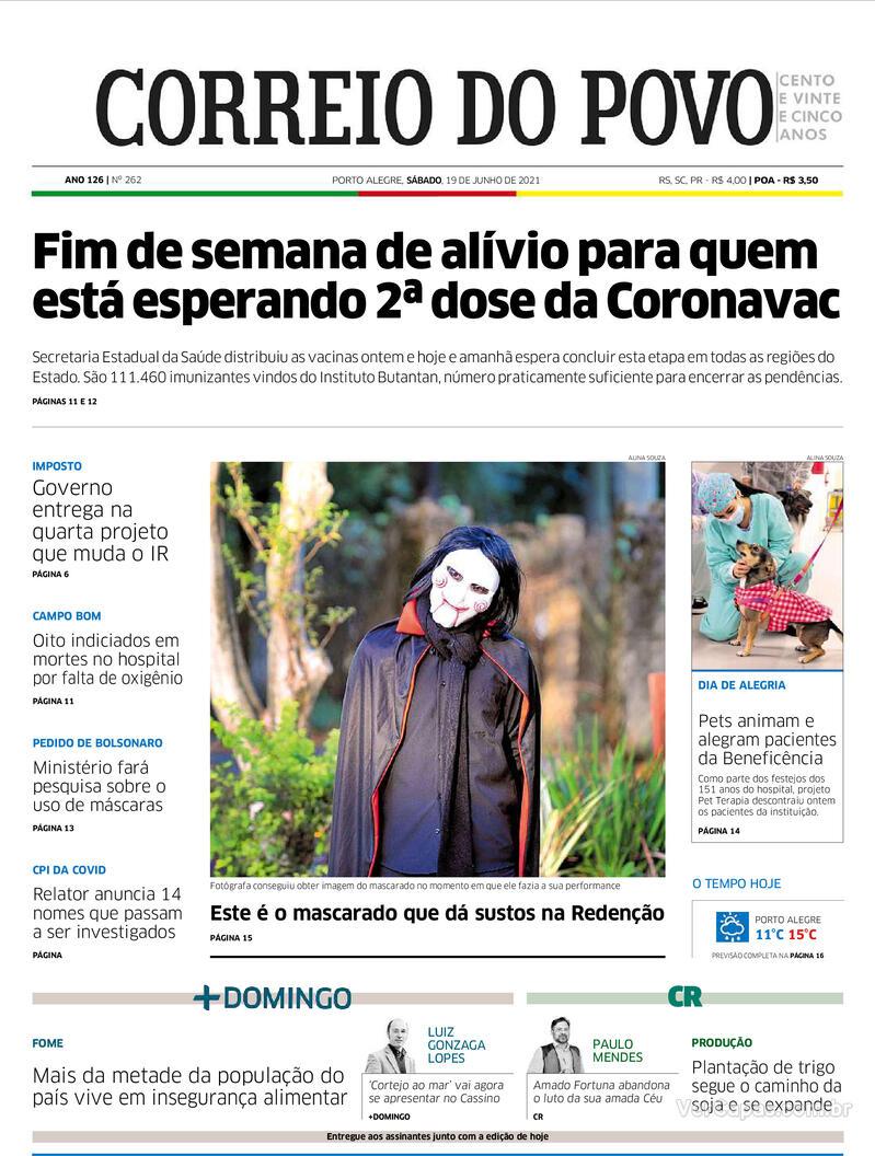 Capa do jornal Correio do Povo 19/06/2021