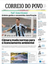 Capa do jornal Correio do Povo 14/05/2021