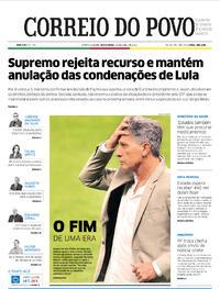 Capa do jornal Correio do Povo 16/04/2021
