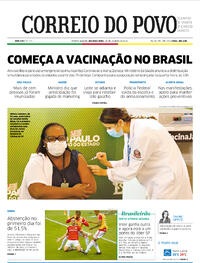 Capa do jornal Correio do Povo 18/01/2021