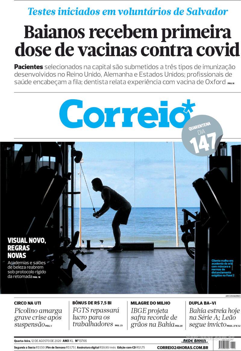 Capa do jornal Correio 12/08/2020