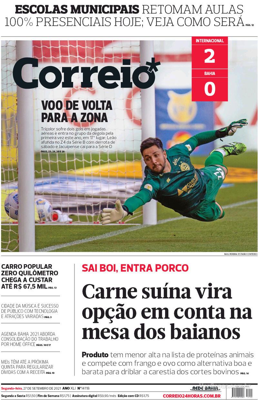 Capa do jornal Correio 27/09/2021