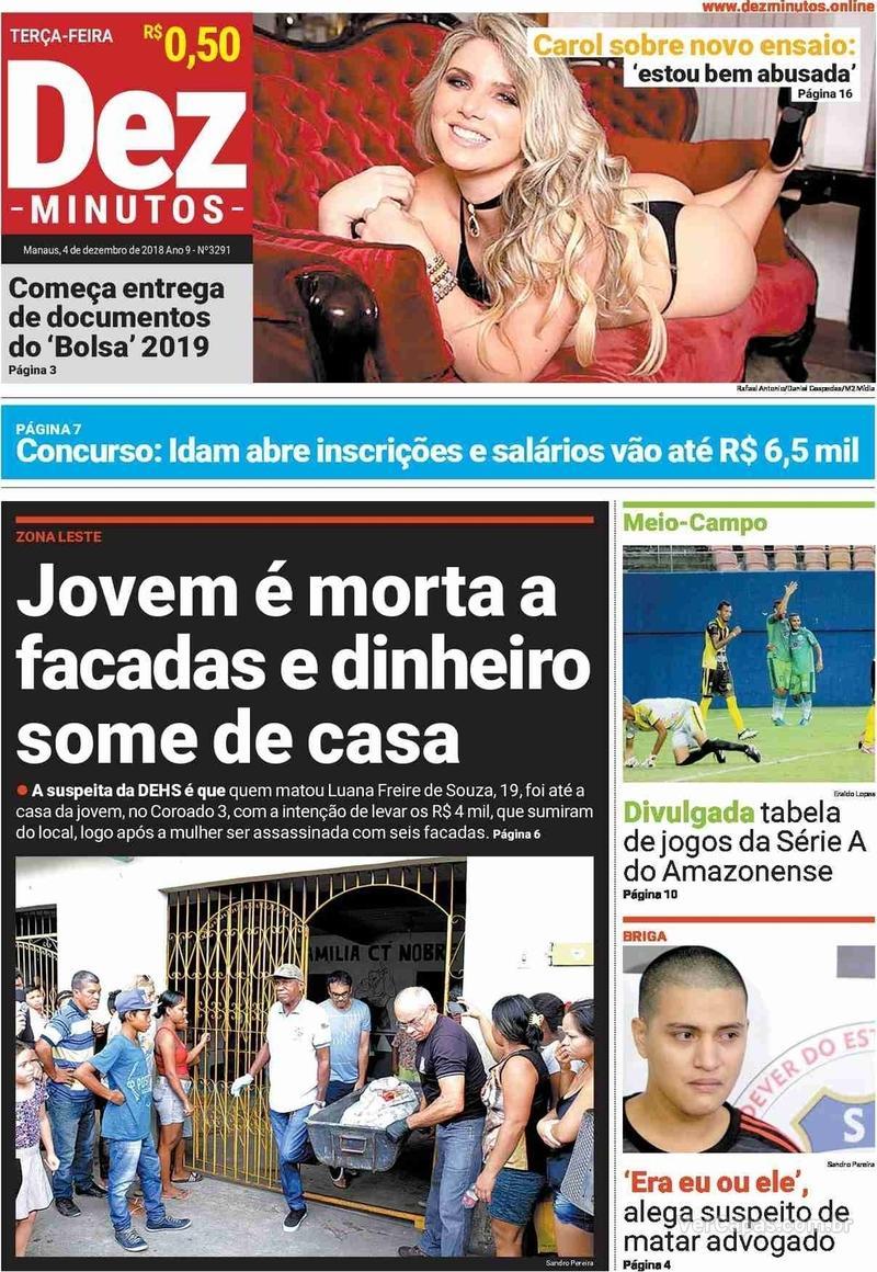 Capa jornal Dez Minutos 04/12/2018
