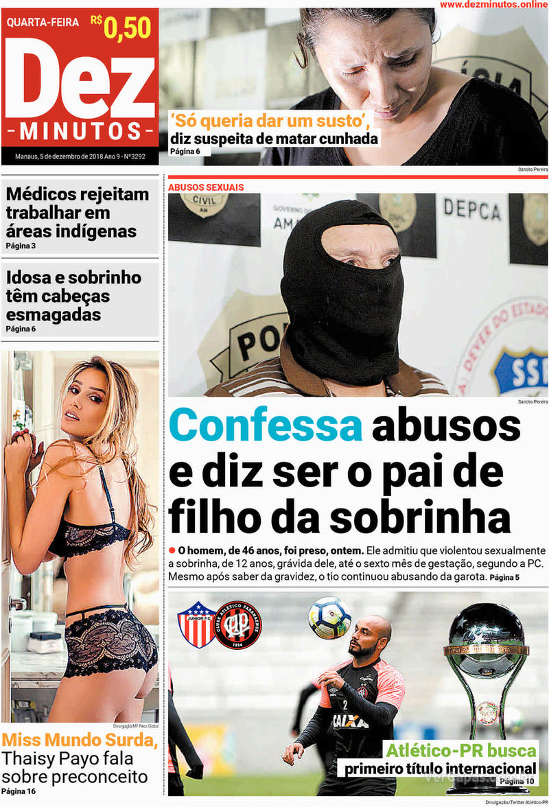 Capa jornal Dez Minutos 05/12/2018