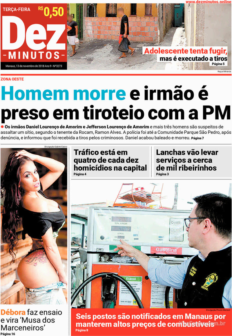 Capa jornal Dez Minutos 13/11/2018