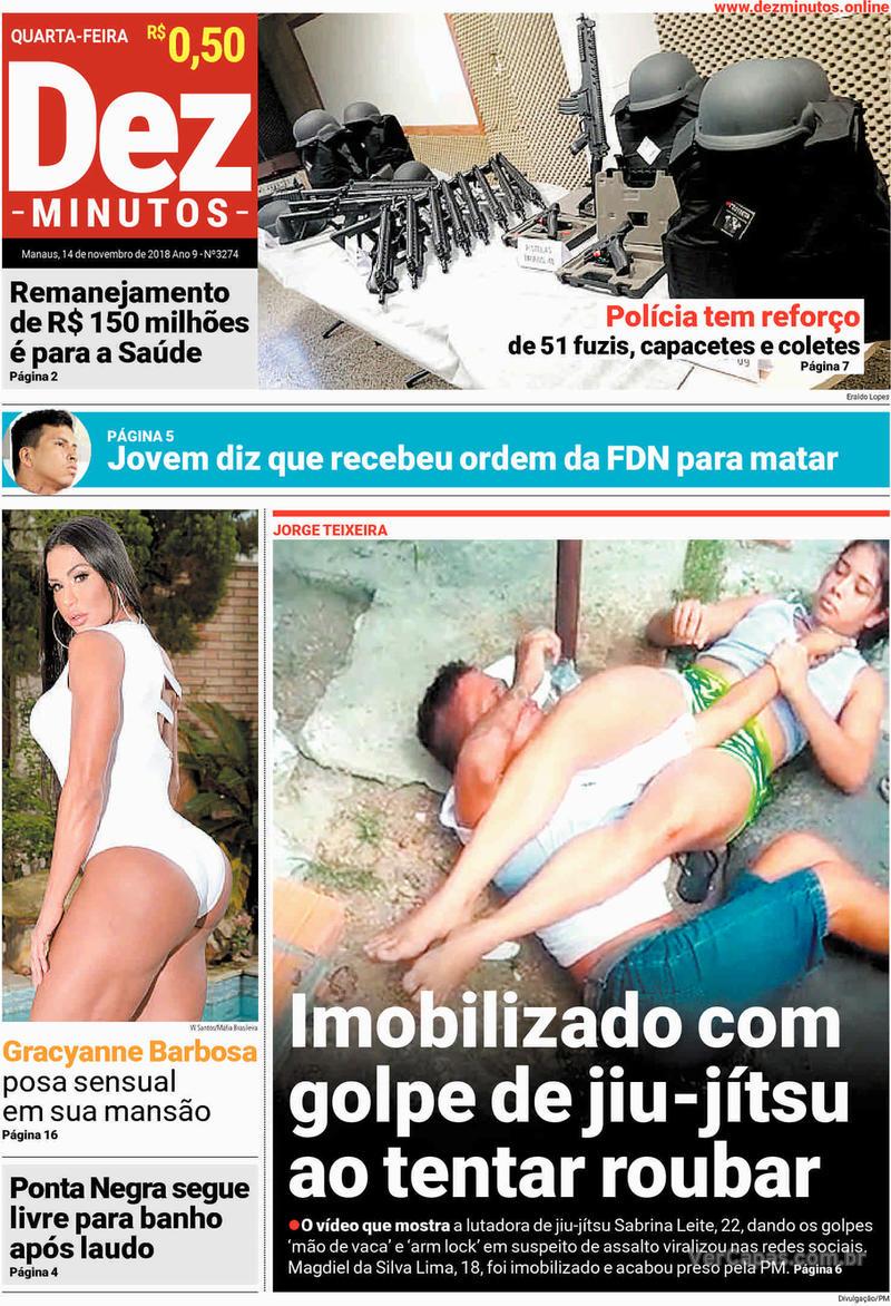 Capa jornal Dez Minutos 14/11/2018
