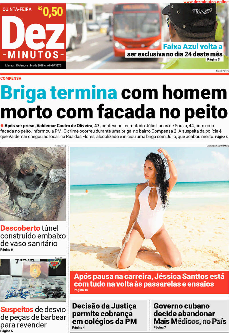 Capa jornal Dez Minutos 15/11/2018