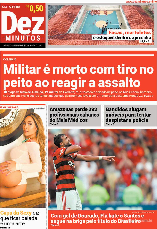 Capa jornal Dez Minutos 16/11/2018