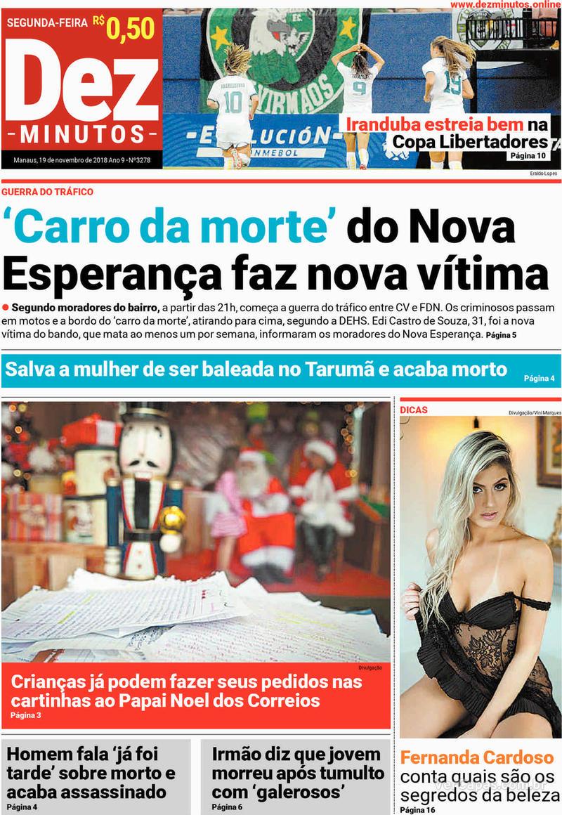 Capa jornal Dez Minutos 19/11/2018