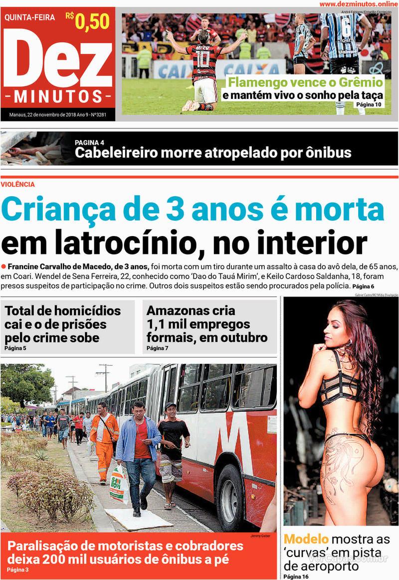 Capa jornal Dez Minutos 22/11/2018