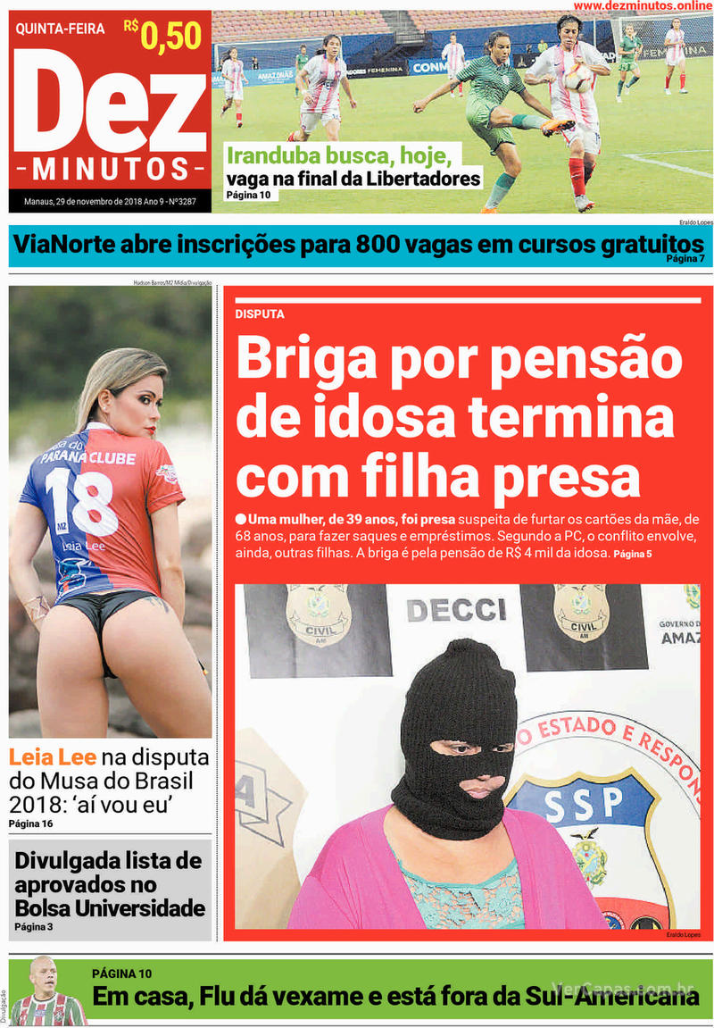 Capa jornal Dez Minutos 29/11/2018