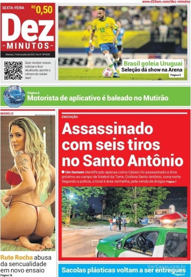 Capa do jornal Dez Minutos 15/10/2021