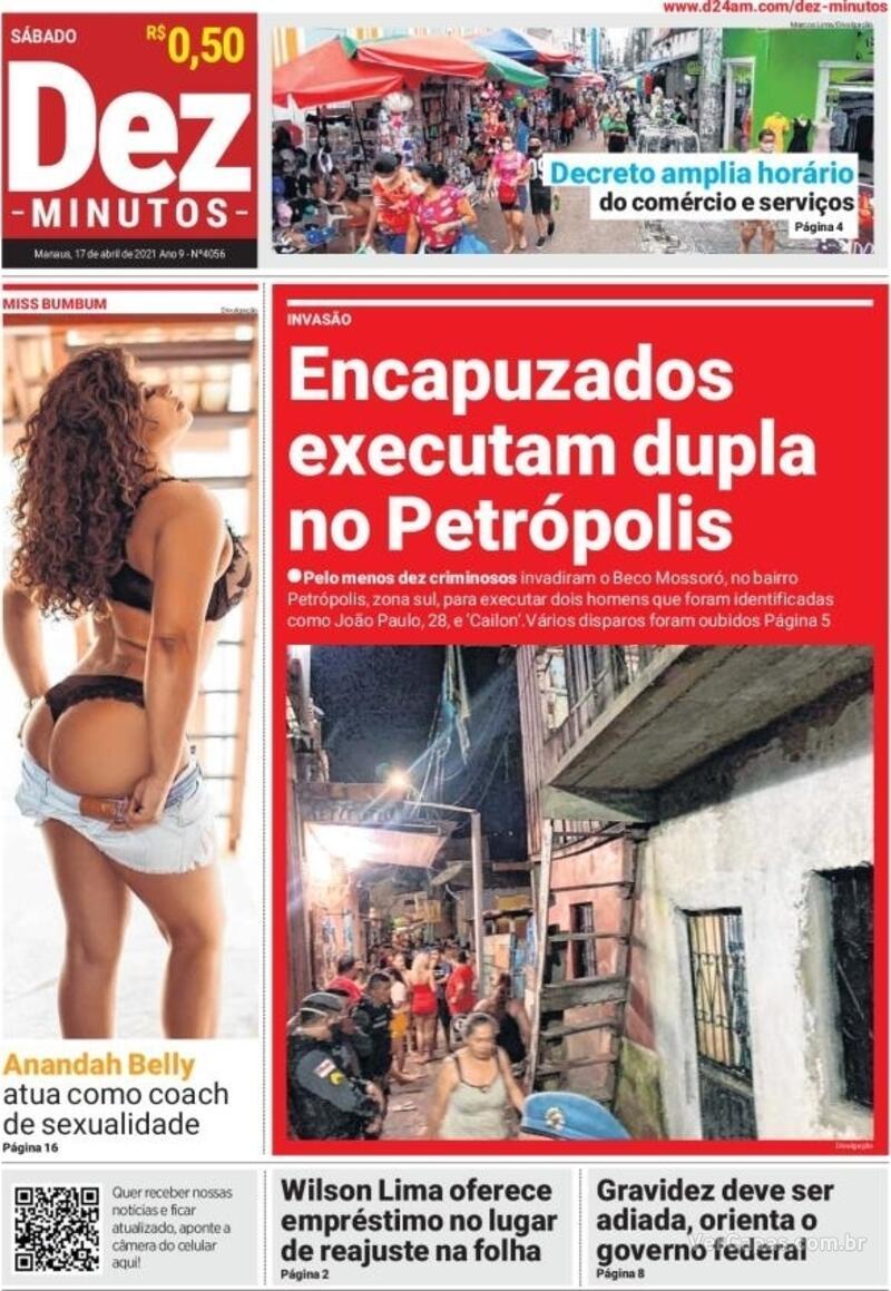 Capa do jornal Dez Minutos 17/04/2021