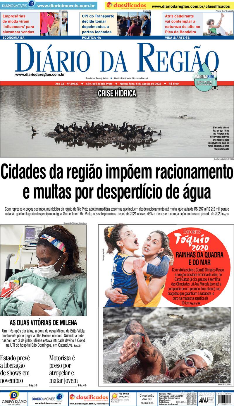 Capa do jornal Diário da Região 05/08/2021