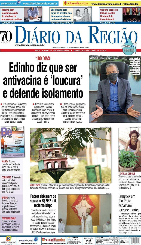 Capa do jornal Diário da Região 18/04/2021