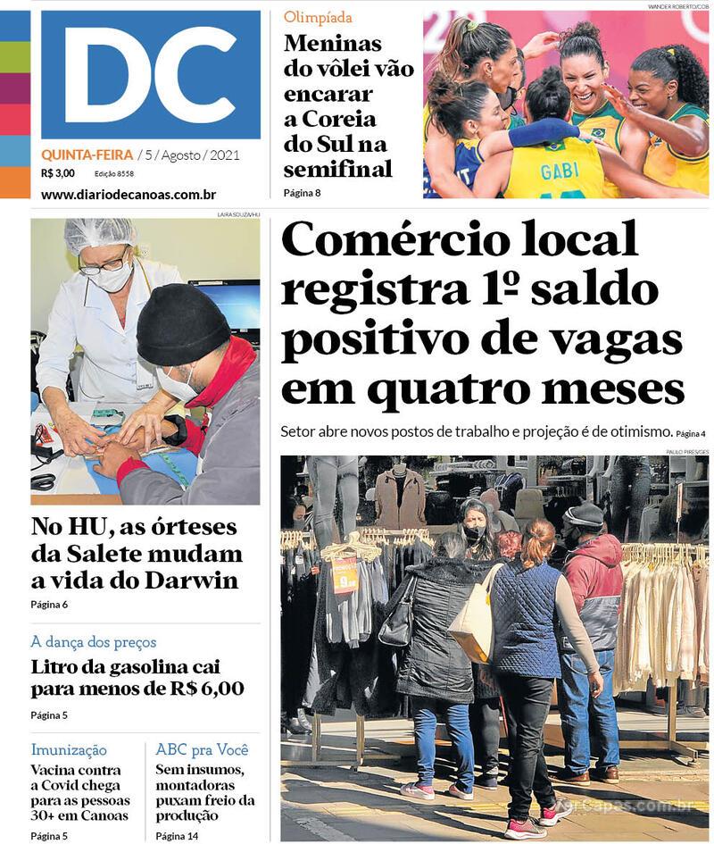 Capa do jornal Diário de Canoas 05/08/2021