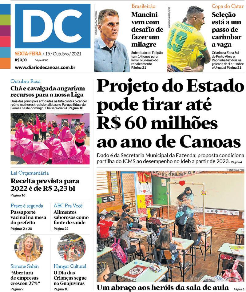 Capa do jornal Diário de Canoas 15/10/2021