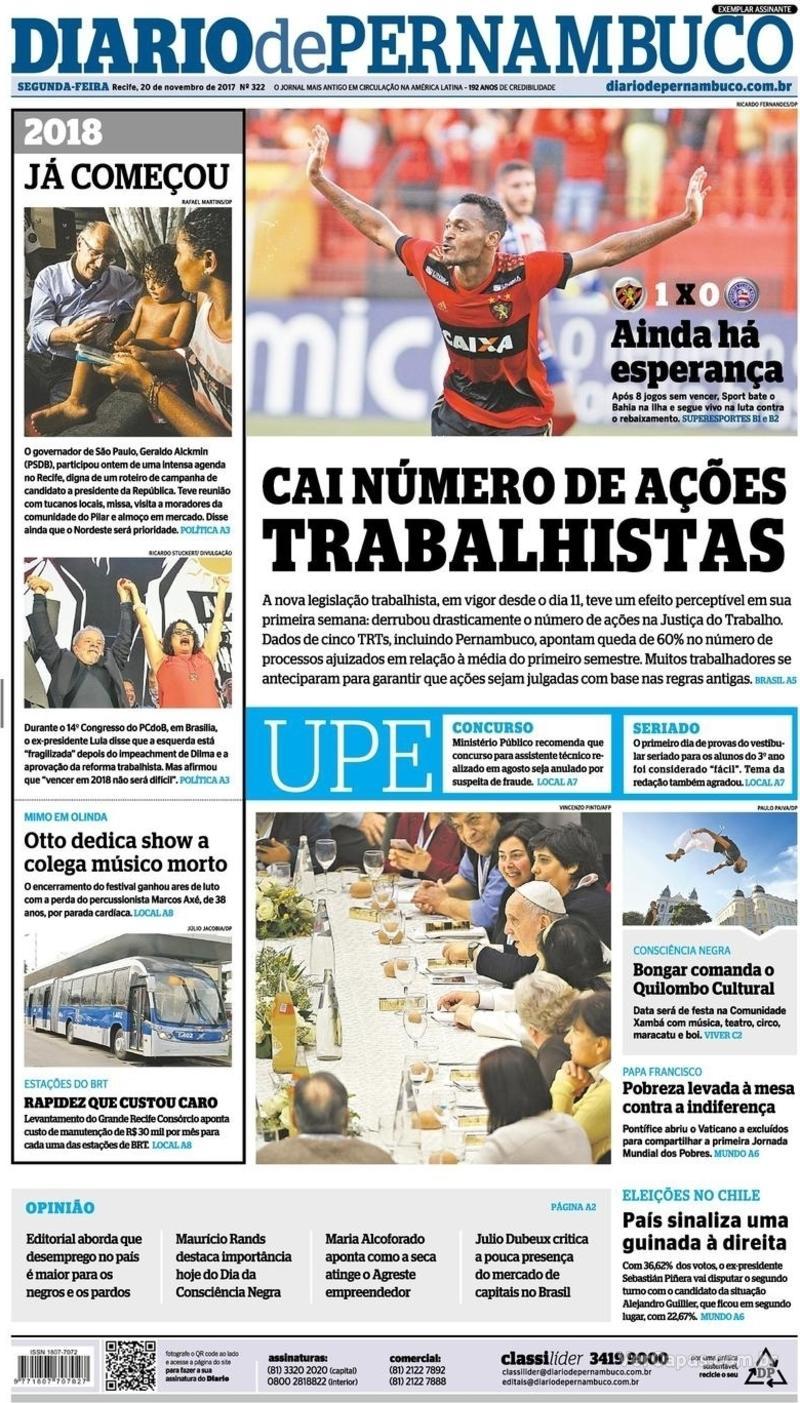 Capa Diario de Pernambuco 2017-11-20
