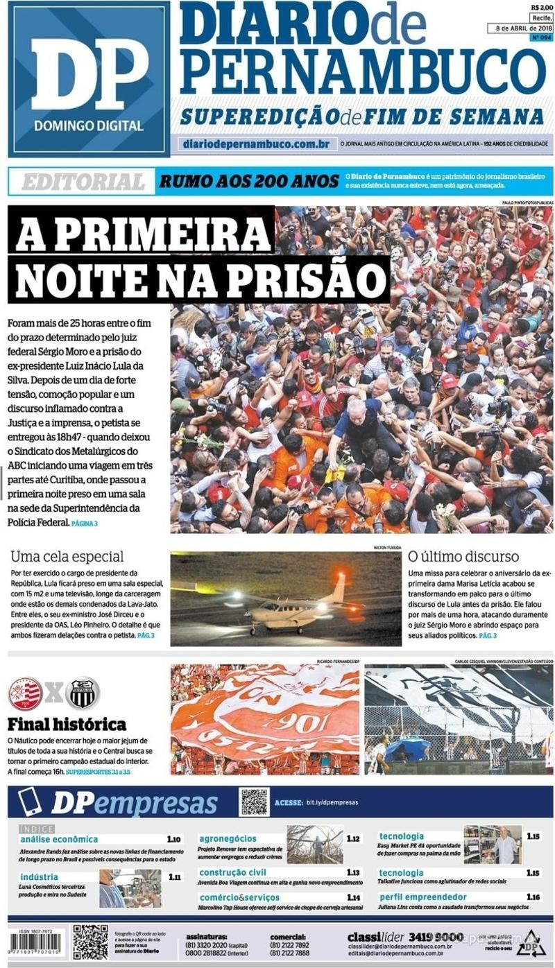 Capa Diario de Pernambuco 2018-04-08