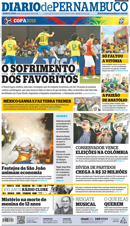 Capa Diario de Pernambuco 2018-06-18