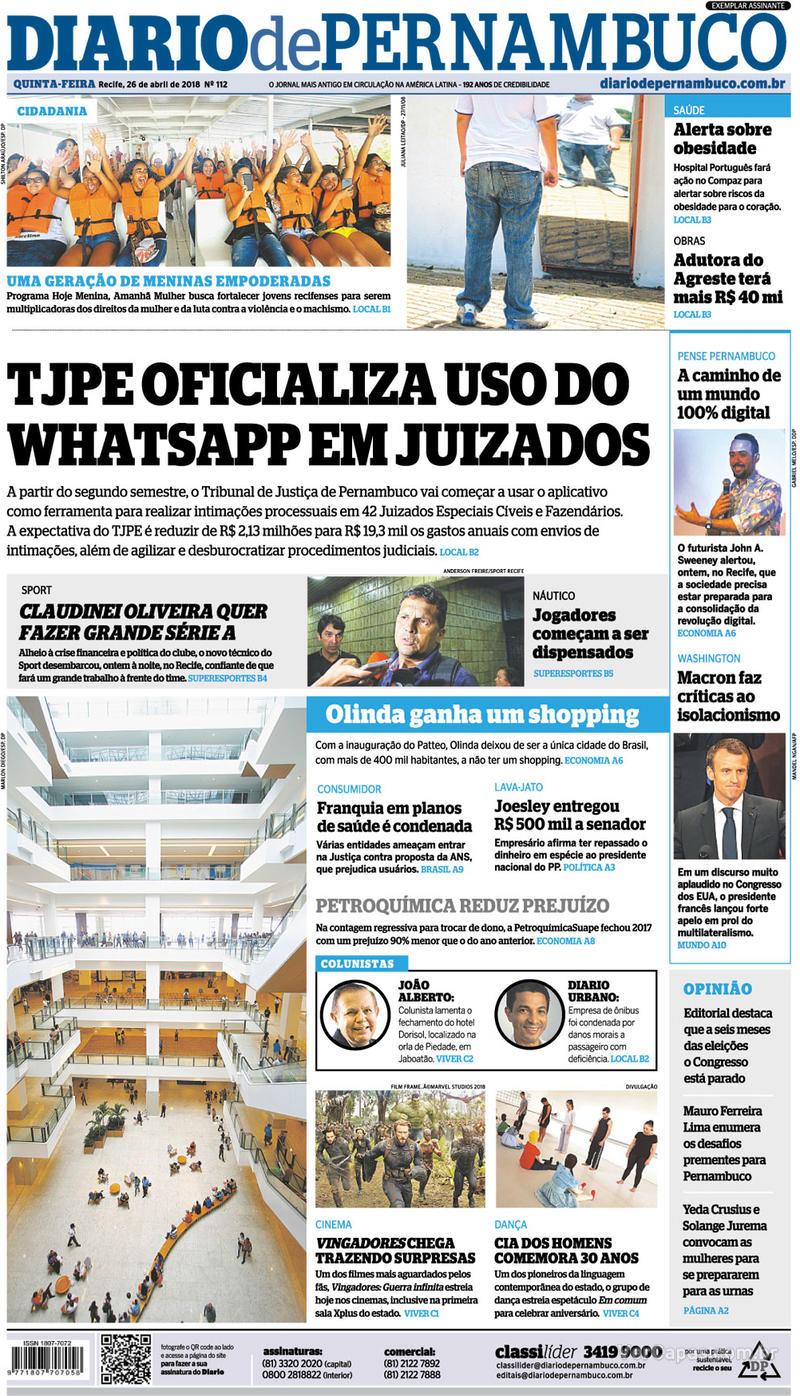 Capa Diario de Pernambuco 2018-04-26