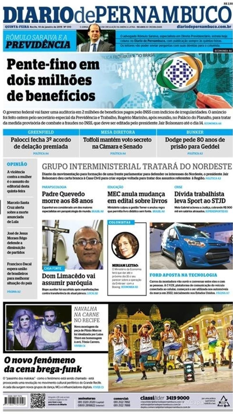 Capa Diario de Pernambuco 2019-01-10