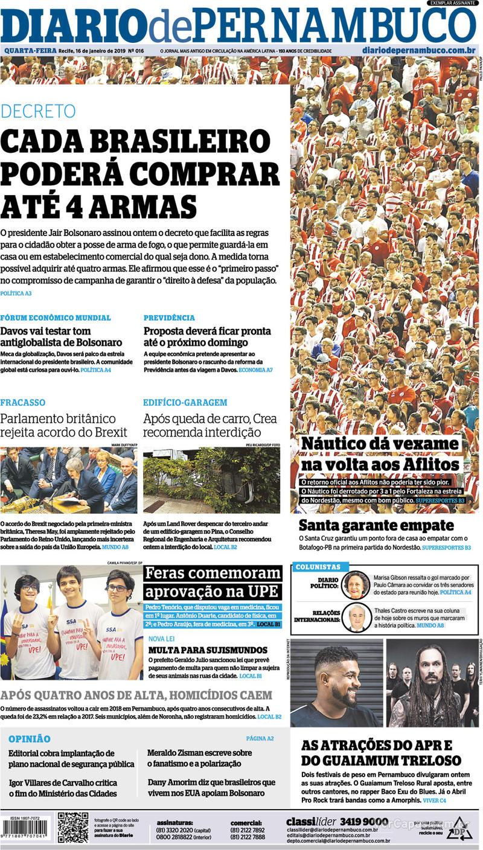 Capa Diario de Pernambuco 2019-01-16