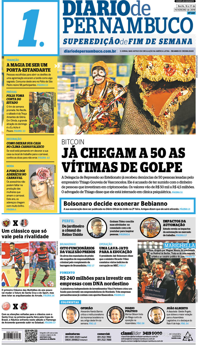 Capa Diario de Pernambuco 2019-02-16