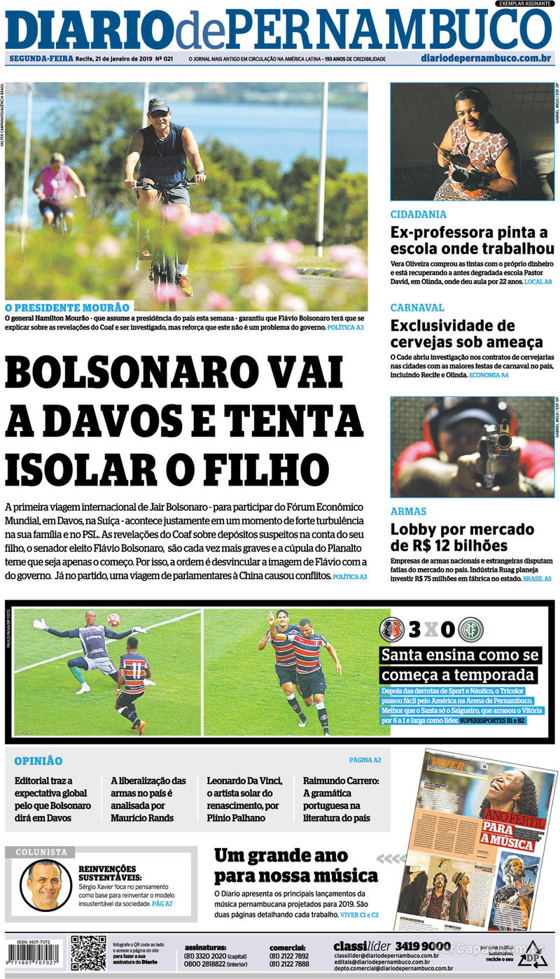 Capa Diario de Pernambuco 2019-01-21