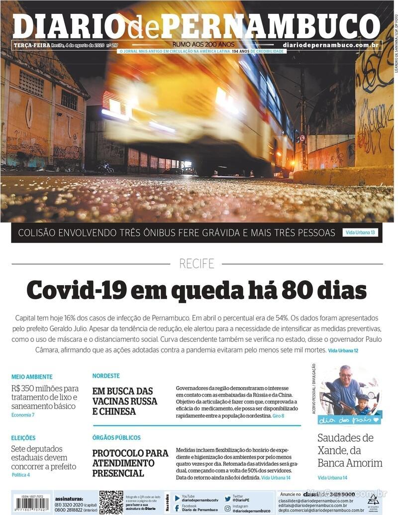 Capa do jornal Diario de Pernambuco 04/08/2020