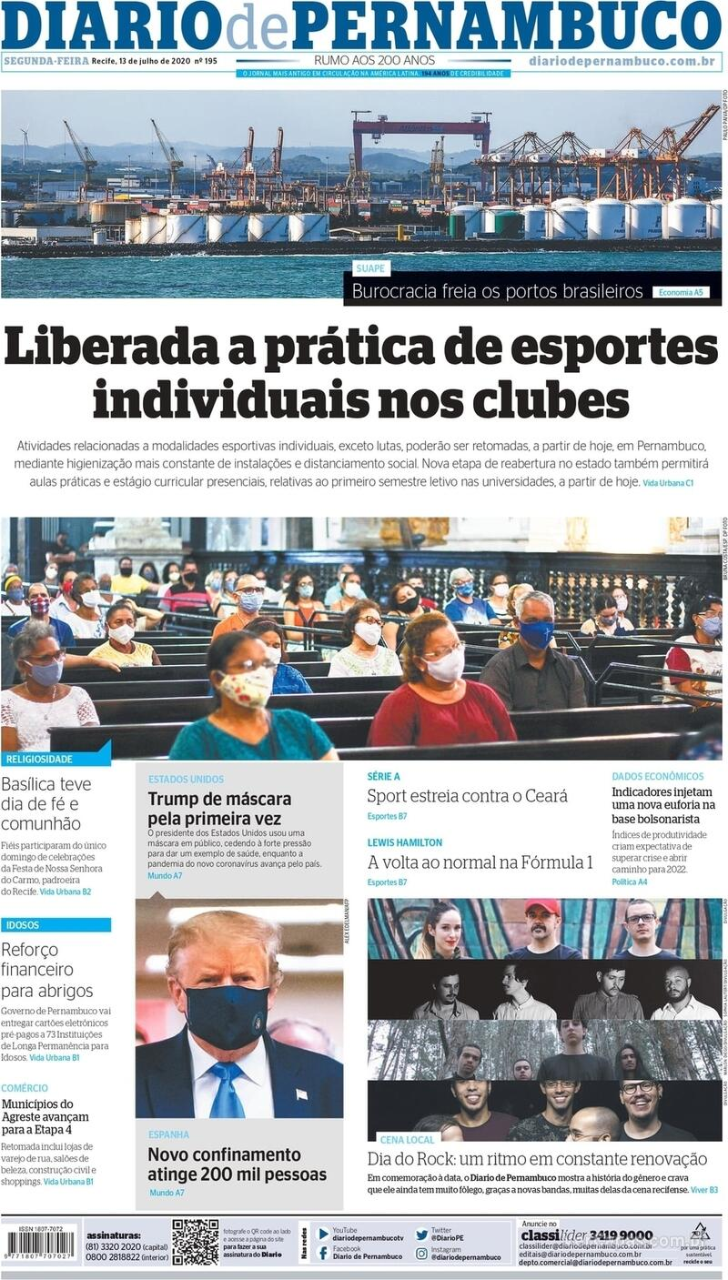 Capa do jornal Diario de Pernambuco 13/07/2020