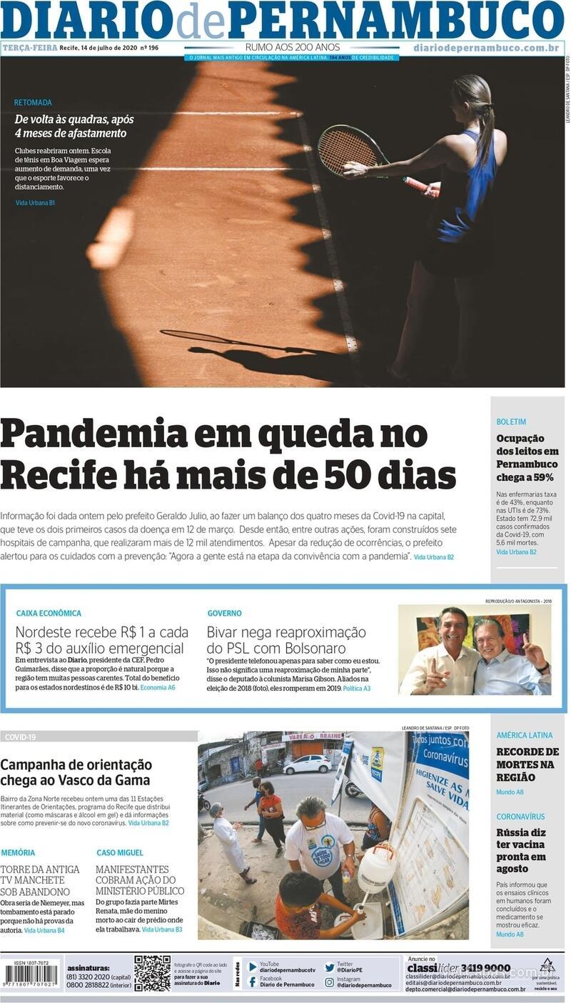 Capa do jornal Diario de Pernambuco 14/07/2020